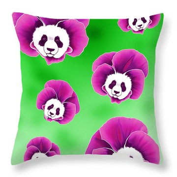Panda Pansies Throw Pillow