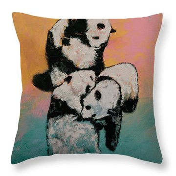 Panda Street Fight Throw Pillow
