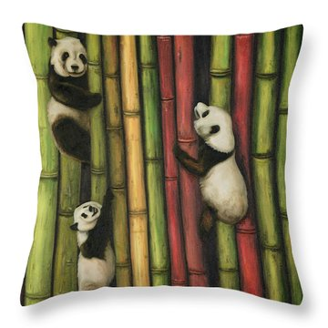 Throw Pillow featuring the painting Pandas Climbing Bamboo by Leah Saulnier The Painting Maniac