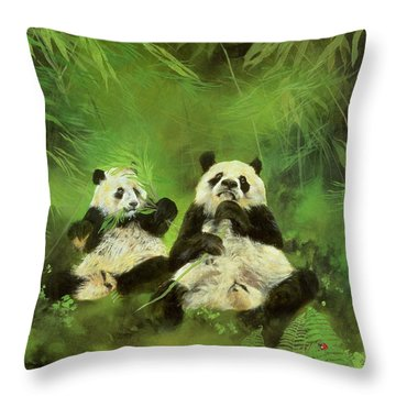 Pandas  Throw Pillow by Odile Kidd