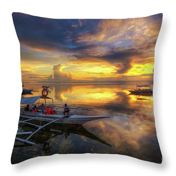 Throw Pillow featuring the photograph Panglao Port Sunset 10.0 by Yhun Suarez