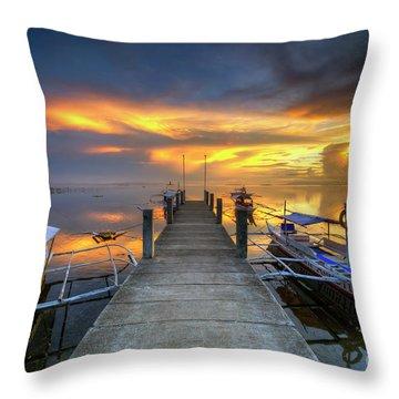 Throw Pillow featuring the photograph Panglao Port Sunset 8.0 by Yhun Suarez
