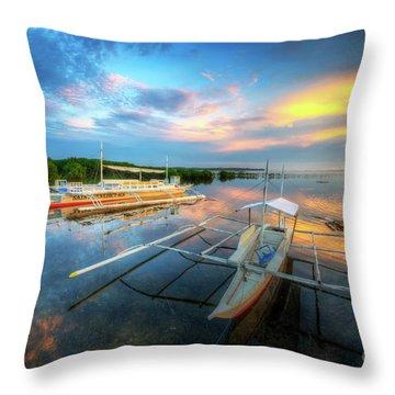 Throw Pillow featuring the photograph Panglao Port Sunset 9.0 by Yhun Suarez