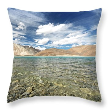 Throw Pillow featuring the photograph Pangong Lake  by Yew Kwang