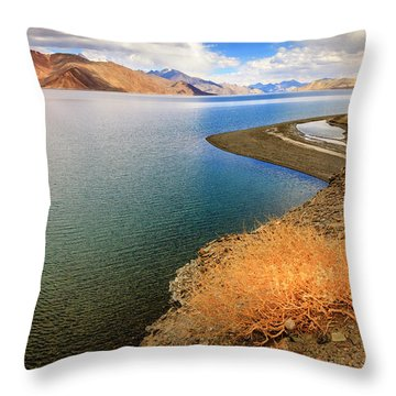 Throw Pillow featuring the photograph Pangong Tso Lake by Alexey Stiop