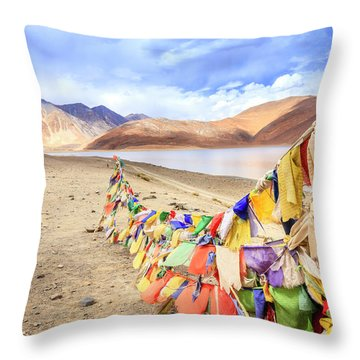 Throw Pillow featuring the photograph Pangong Tso Lkae by Alexey Stiop