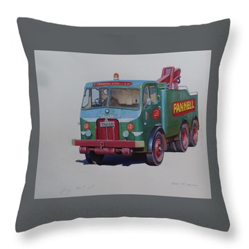 Throw Pillow featuring the painting Pannell Leyland Wrecker. by Mike Jeffries