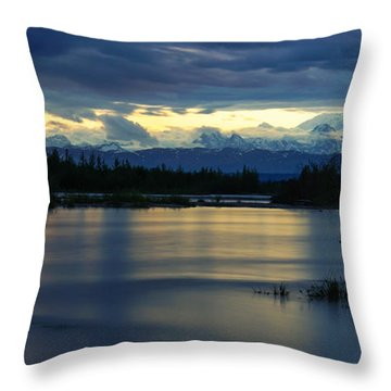 Pano Alaska Midnight Sunset Throw Pillow