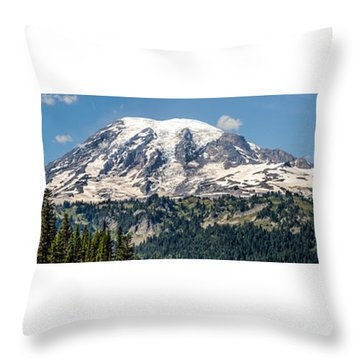 Throw Pillow featuring the photograph Panorama #1 Of Mt Rainier by Rob Green