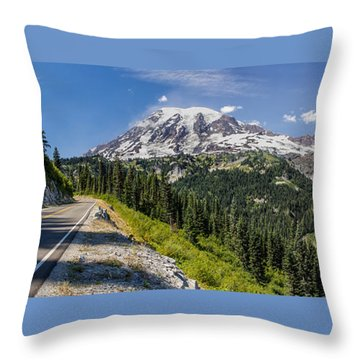 Throw Pillow featuring the photograph Panorama #2 Of Mt Rainier by Rob Green