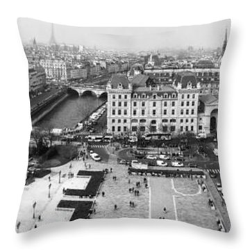 Throw Pillow featuring the photograph Panorama Above Paris by Andrew Soundarajan