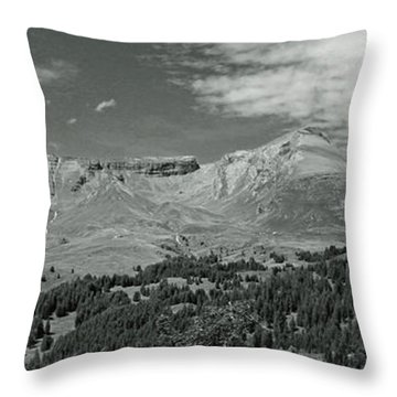 Panorama Alps Switzerland In Black And White Throw Pillow