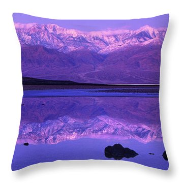 Throw Pillow featuring the photograph Panorama Badwater And The Panamint Range At Sunrise Death Valley by Dave Welling