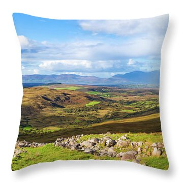 Throw Pillow featuring the photograph Panorama Of A Colourful Undulating Irish Landscape In Kerry by Semmick Photo