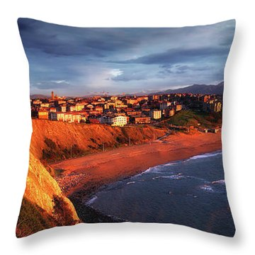 Panorama Of Aixerrota Sunset Throw Pillow