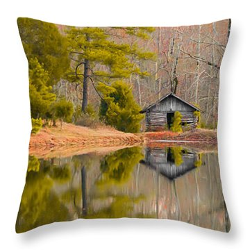 Panorama Of Cabin By The Lake Throw Pillow by Shelby  Young