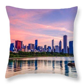 Panorama Of Chicago Skyline From Shedd Aquarium - Chicago Illinois Throw Pillow