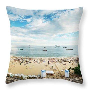 Panorama Of Copacabana, Rio De Janeiro, Brazil  Throw Pillow