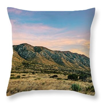 Panorama Of Hunter Peak And Frijole Ridge At Guadalupe Mountains National Park - West Texas Throw Pillow