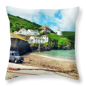 Throw Pillow featuring the photograph panorama of harbor  Port Isaac, Cornwall by Ariadna De Raadt