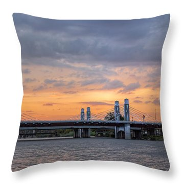 Panorama Of I-35 Jack Kultgen Highway Bridges At Sunset From The Brazos Riverwalk - Waco Texas Throw Pillow