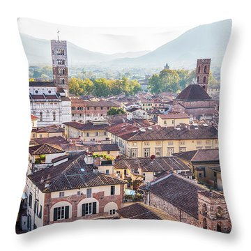panorama of old town Lucca, Italy Throw Pillow