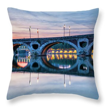 Throw Pillow featuring the photograph Panorama Of Pont Neuf In Toulouse by Elena Elisseeva