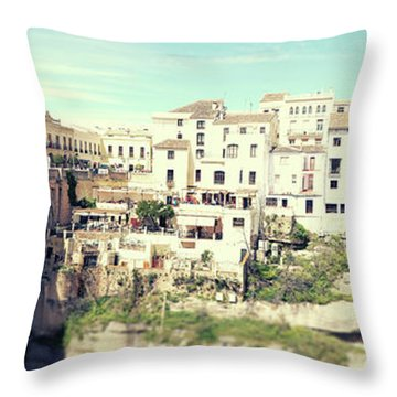 Throw Pillow featuring the photograph panorama of  Rondo in Spain by Ariadna De Raadt