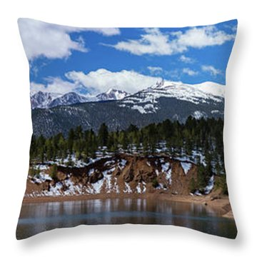 Panorama Of South Catamount Reservoir With Pike's Peak Covered I Throw Pillow