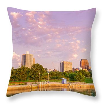 Panorama Of South Side Of Chicago Skyline And One Museum Park From Shedd Aquarium - Chicago Illinois Throw Pillow