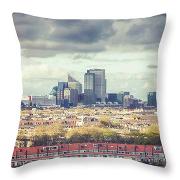 panorama of the Hague modern city Throw Pillow