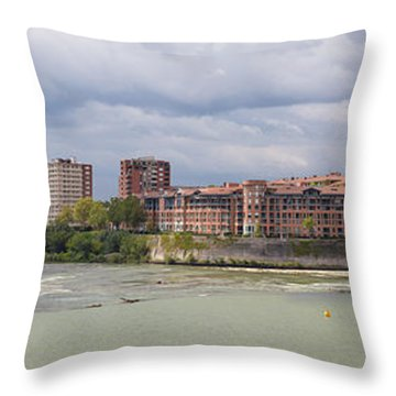 Throw Pillow featuring the photograph Panorama Of The Hydroelectric Power Station In Toulouse by Semmick Photo