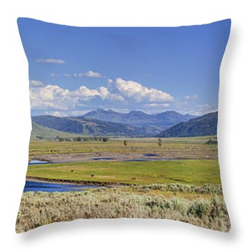 Panorama Of The Lamar Valley Throw Pillow