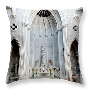 Panorama Of The Main Altar Of St. John The Evangalist Roman Catholic Church Schenectady Throw Pillow