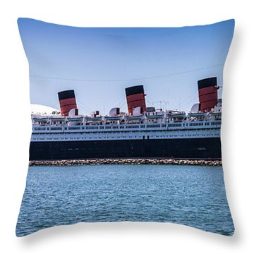 Panorama Of The Queen Mary Throw Pillow