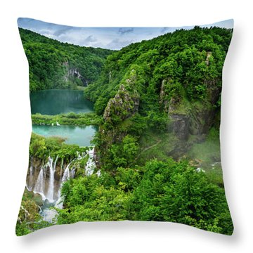 Panorama Of Turquoise Lakes And Waterfalls - A Dramatic View, Plitivice Lakes National Park Croatia Throw Pillow