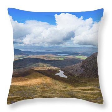Throw Pillow featuring the photograph Panorama Of Valleys And Mountains In County Kerry On A Summer Da by Semmick Photo