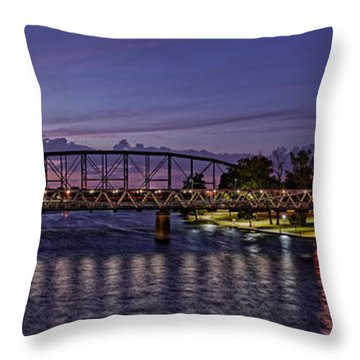 Panorama Of Waco Suspension Bridge Over The Brazos River At Twilight - Waco Central Texas Throw Pillow