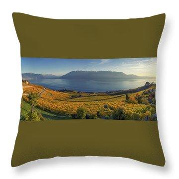 Panorama On Lavaux Region, Vaud, Switzerland Throw Pillow
