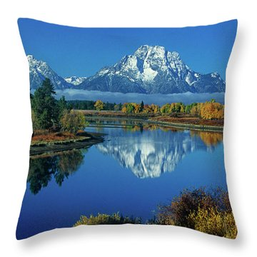 Throw Pillow featuring the photograph Panorama Oxbow Bend Grand Tetons National Park Wyoming by Dave Welling