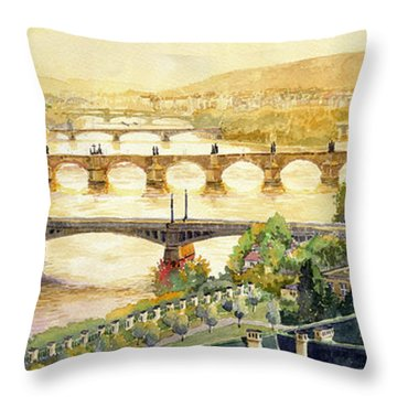 Panorama Prague Briges Throw Pillow by Yuriy  Shevchuk