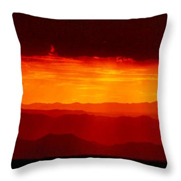 Panorama - Valley Of Fire Sunset 003 Throw Pillow by George Bostian