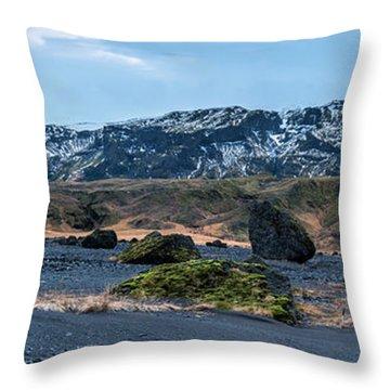 Panorama View Of An Icelandic Mountain Range Throw Pillow by Joe Belanger