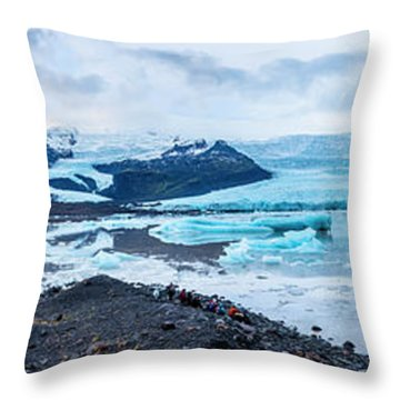 Panorama View Of Icland's Secret Lagoon Throw Pillow by Joe Belanger