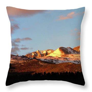 Panorama View Of Longs Peak At Sunrise Throw Pillow by Ronda Kimbrow