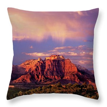 Throw Pillow featuring the photograph Panorama West Temple At Sunset Zion Natonal Park by Dave Welling