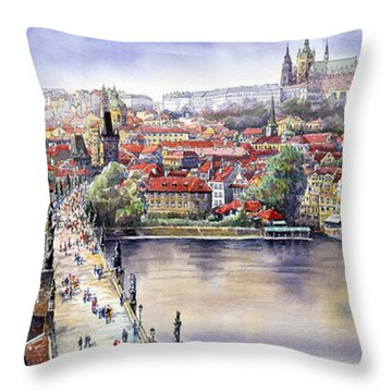 Panorama With Vltava River Charles Bridge And Prague Castle St Vit Throw Pillow by Yuriy  Shevchuk