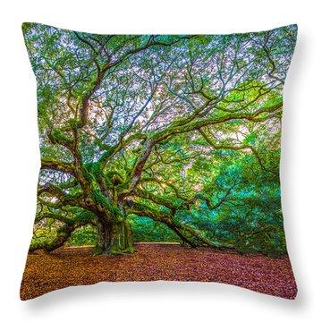 Panoramic Angel Oak Tree Charleston Sc Throw Pillow