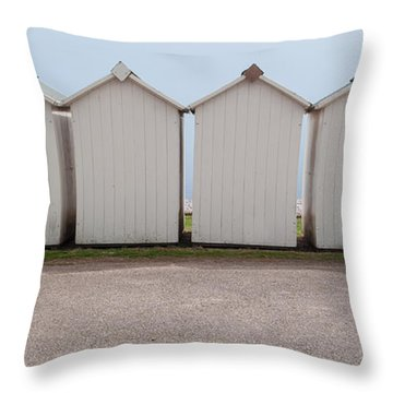 Panoramic Beach Huts Throw Pillow by Helen Northcott