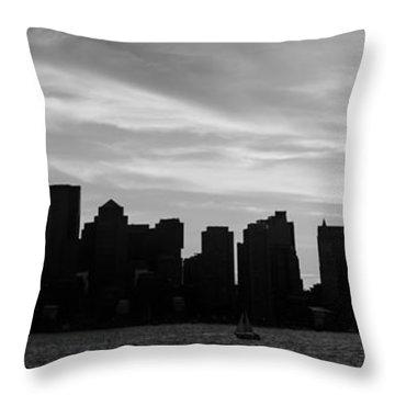 Panoramic Boston Skyline Black And White Photo Throw Pillow